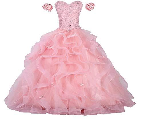 Gemila Women's Off-Shoulder Lace Applique Flower Sweet 16 Ball Gown Quinceanera Dress Light Pink US12