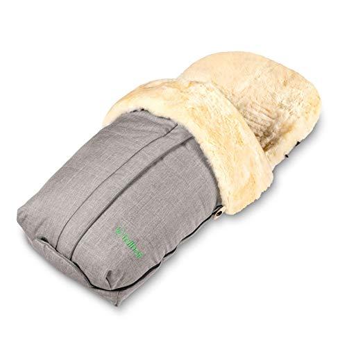 Fellhof 108307 Lammfell Fußsack Cortina, OEKO-TEX® Standard 100 zertifiziert, 45x97 cm, wind- und wasserdicht, waschbar bis 30°C, Öffnung am Fußende (black-melange)