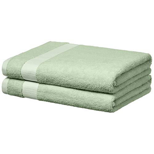 AmazonBasics Everyday Bath Towels, Set of 2, Seaglass Green, 100% Soft Cotton, Durable