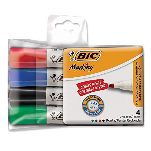 Pincel Marcador BIC Marking, Ponta Redonda, 4 Cores, 891683, 4 unidades