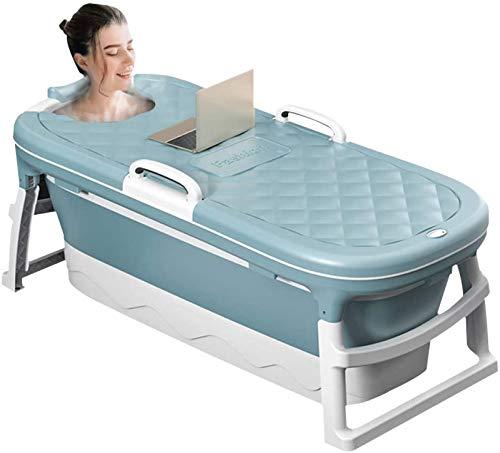 CHANG Bañera Plegable con Cubierta Termostática, Bañera De Masaje Portátil para Adultos, Bañera De Inmersión, Bañera para El Hogar,Blue(55inch)