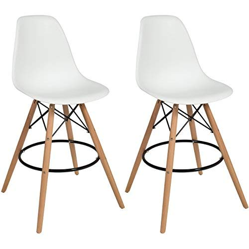 17e4dc1b76e57 Best Choice Products Set of 2 Mid Century Modern Eames Style Counter Stools  w Wooden