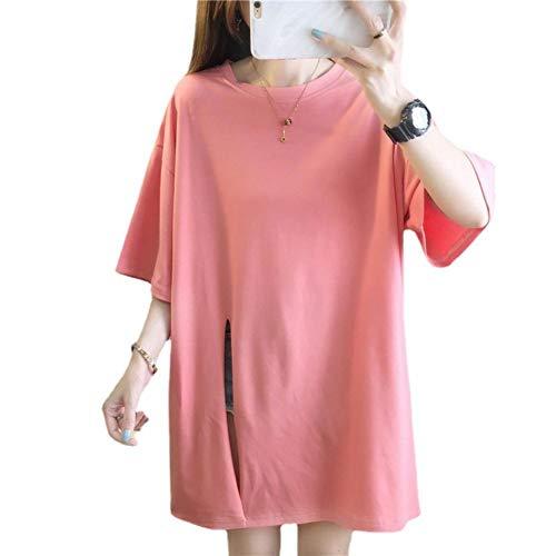 Mode Casual Split Kurzarm T-Shirt Lose Große Größe Damen 3DHD Druckbuchstaben im Langen losen Rundhalshemd Top Rosa L
