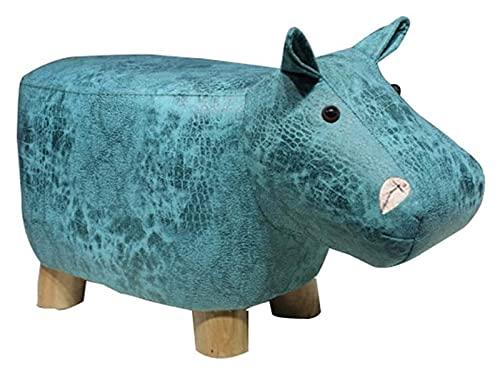 Cartoon voetenbankje kinderkrukje massief houten dierenkrukje kinderen creatief schattig schoenen bankje spel krukje of buiten viskrukje 1207 (kleur: 2, maat: nijlpaard)