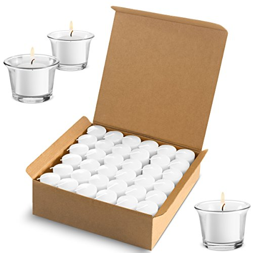 Votive Candles Wedding Dinner, Holiday Home Decoration Unscented 10 Hour Burn - Set of 72 (Clear White) (Glass Votive Holders NOT Included)