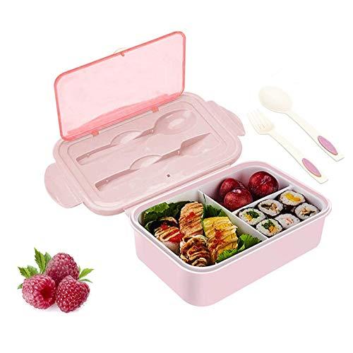 JIASHA Porta Pranzo, Kids Bento Box,1400ml Kids alle perdite Bento Box con 3 Scomparti e Posate,può Essere Usato per Microonde e Frigo Lavastoviglie,Approvato dalla FDA/Senza BPA。 (Rosa)