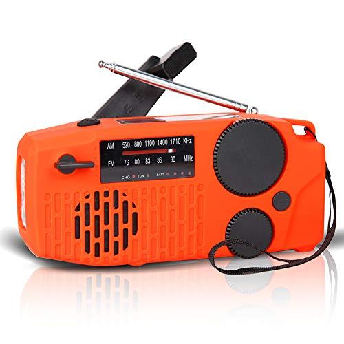 防災ラジオ 手回し充電 ソーラー充電 USB充電 大容量2000mAh 多機能 AM/FM 防災 台風 津波 地震 震災 停電緊急対策 SOSアラート アウトドア キャンプ (オレンジ)