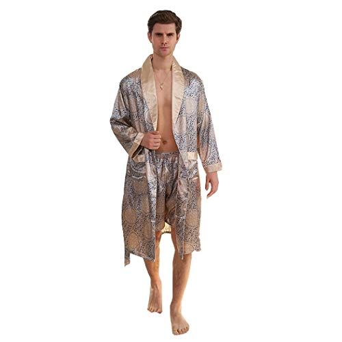 AXIANQIPJS Zomer Dunne Lange Mouw Badjas Pyjama Sets Heren Robe Zijde pyjama Shorts 2-delige Set Japanse Stijl Nachtkleding Loungewear