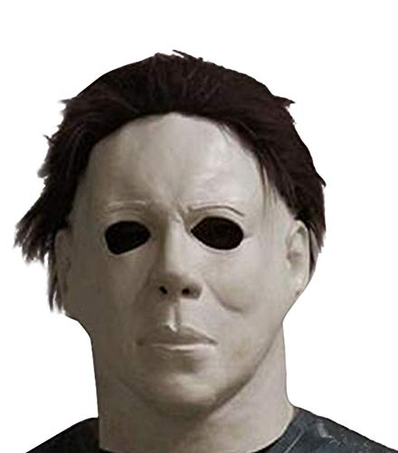 HAOCOS Adult Horror Movie Cosplay Props Michael Myers Latex Full Head Mask White