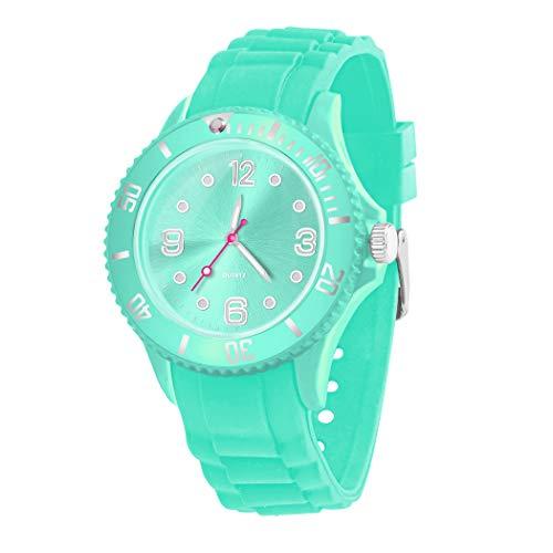 Taffstyle Farbige Sportuhr Armbanduhr Silikon Sport Watch Damen Herren Kinder Analog Quarz Uhr 43mm Himmelblau