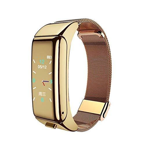 YNLRY Pulsera inteligente+auricular Bluetooth inalámbrico Rastreador de fitness Reloj de frecuencia cardíaca Monitoreo de salud Pulsera inteligente (color correa de acero dorado)