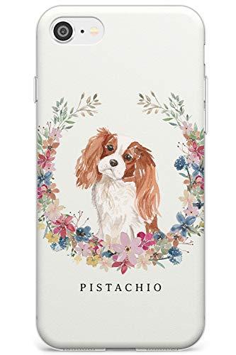 Cavalier King Charles Spaniel Portrait Slim Cover per iPhone 7 Plus TPU Protettivo Phone Leggero con Personalizzato Animale Domestico Nome Amante