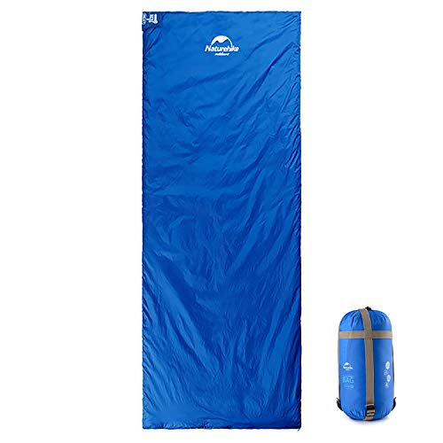 Naturehike Ultraleichter Schlafsack für warmes Wetter, Sommer, Frühling, Herbst, tragbar, wasserdicht, kompakt, leicht, Komfort, mit Kompressionssack, Rucksackreisen, Camping, Wandern, Sky Blue XLR