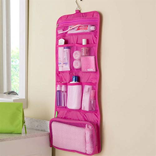 ZJXYYYzj Trousse De Maquillage, Sac cosmétique Voyage Sac Maquillage Solide Crochet Trousse de Toilette de Lavage Organisateur de Stockage Hanging Pouch (Color : Pink)