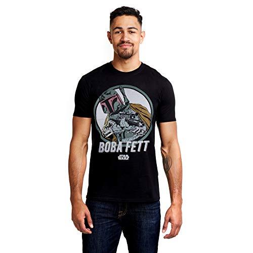 Star Wars Retro Boba Camiseta, Negro (Black Blk), Medium para Hombre