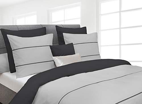Heckett Lane Parure de lit en Percale Gris Clair/Anthracite Taille 200 x 200 cm (2 x 80 x 80 cm)
