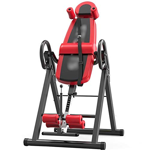 Gravity Heavy Duty Inversion Table Adjustable Height Inversion Equipment Foldable Back Stretcher Machine with Airbag Lumbar Pad for Pain Relief Therapy Color : Red