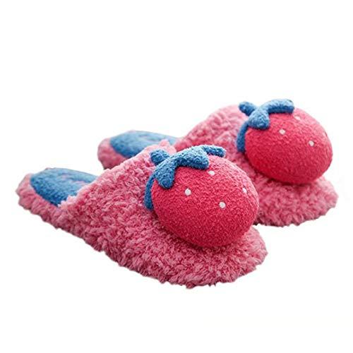 CNMJI Mujer Pantuflas Zapatos Antideslizantes con Suela Zapatillas Hombre Estar por Casa Cálidas Y Cómodas Interior Y Exterior Felpa Suave para Dormitorio Supersuave Slippers,Rosado,36~37