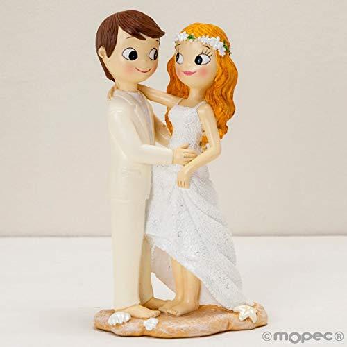 Figuras GRABADAS de boda novios descalzos tarta pastel PERSONALIZADA playa