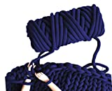 Arm Knit Yarn for Blanket, Hand Knitting, Jumbo Yarn, Chunky Knit Cotton Tube Yarn Super Soft Washable Bulky Giant Yarn for Extreme DIY (Navy Blue, 1.3 lbs / 23 Yards)