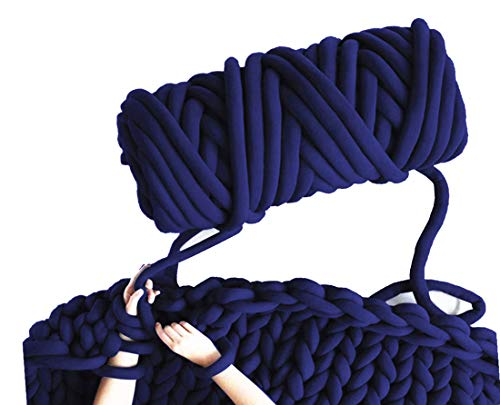 Arm Knit Yarn for Blanket, Hand Knitting, Jumbo Yarn, Chunky Knit Cotton Tube Yarn Super Soft Washable Bulky Giant Yarn for Extreme DIY (Navy Blue, 3.5 lbs / 70 Yards)
