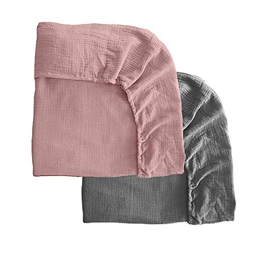 Pack 2 sábanas bajeras para moisés o capazo de Cochecito, sábanas Ajustables de Muselina Recambio Bajera Carrito bebé. Vestiduras moisés. Mimuselina (Rosa-Gris)