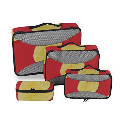 Reisegepäck-Organisatoren Verpackungswürfel Köstliche dünne, knusprige Snacks Kartoffelchips Koffer-Organisator-Verpackungswürfel Würfelverpackung Reise 4-teiliger Koffer-Organisator Leichte Gepäckau
