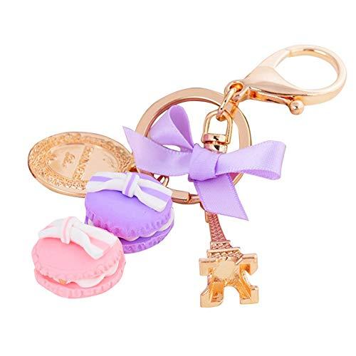 Vektenxi Premium Qualität Schöne Macaron Turm Münze Schlüsselanhänger Schlüsselbund Autoschlüssel Halter Frauen Tasche Anhänger Geschenk