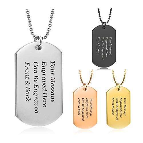 howson london Personalised Dog Tag Pendant Mens Necklace - Army Card Identity Necklace Gift for him, Boyfriend, Husband, dad - Birthday, Anniversary, End of Term Thank You Teacher School Leaving