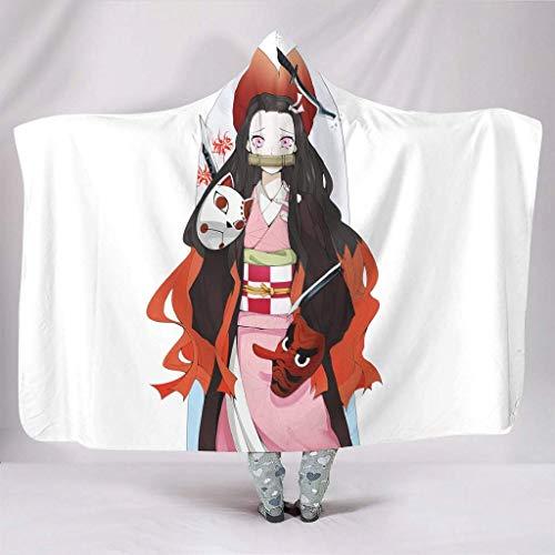 hangong Manta con capucha para adultos Kimetsu.no.Yaiba Kamado Nezuko, máscara de Nezuko, impresión artística, portátil, color blanco, 150 x 200 cm