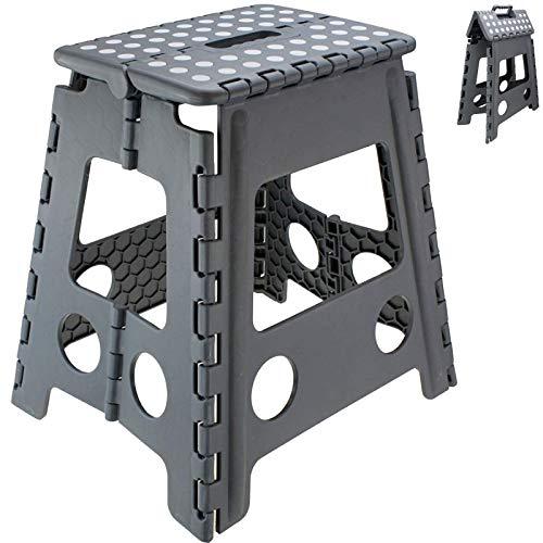 SCHOBERG Tritthocker Klapphocker bis 120 kg Hocker Grau Kinderhocker 40 x 39 x 31cm (HxBxT) Trittbank Sitzhocker Klappstuhl