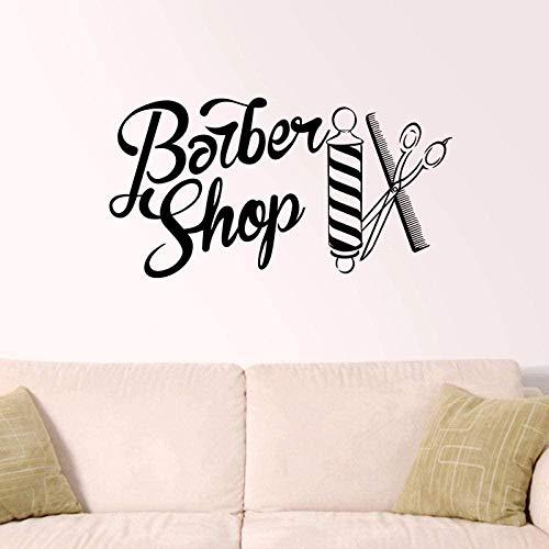 Pegatina de peluquería calcomanía de pan a la parrilla corte de pelo maquinilla de afeitar vinilo pared arte calcomanía decoración ventana decoración mural 34X58 cm
