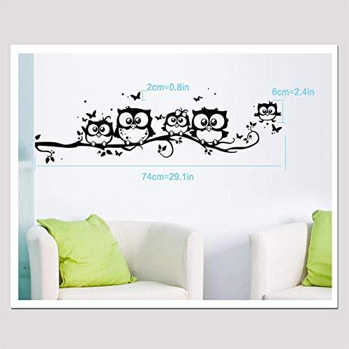 Pegatinas De Pared Cinco Búhos Con Mariposas Pegatinas Calcomanía Arte Vinilo Decoración Decoración Para Sala De Estar Dormitorio Guardería Negro 55 × 25Cm