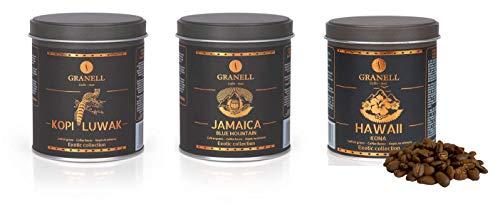 Cafés Granell - Exotic Collection - Premium Kaffee Geschenkset | Kopi Luwak, Jamaica Blue Mountain, Hawaii Kona - Gourmet Kaffeebohnen Probierset für Kaffeeliebhaber - 3 Stück