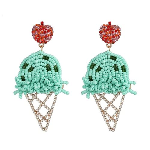 XIGAWAY Boho orecchini pendenti pendenti a forma di foglia di cactus gelato e fenicottero fatti a mano, Plastica,
