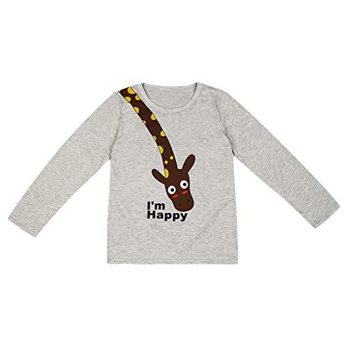 YWLINK NiñOs Y NiñAs OtoñO E Invierno Camiseta De Manga Larga Dibujos Animados Letra JirafaTops Arriba Sudadera Pullover Pijamas Camisa De Fondo Cardigan Jersey Moda Casual Lindo(Gris,1-2 años/90)