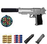 Desert Eagle Soft Bullet, pistola de juguete clásica,tamaño 1: 1 con cargador de expulsión y silenciador,una pistola de juguete que puede arrojar su caparazón y experimentar el sentido de la realidad