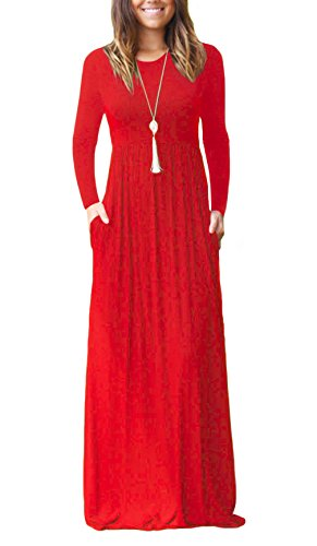 DEARCASE Women Long Sleeve Loose Plain Maxi Dresses Casual Long Dresses with Pockets Red Large