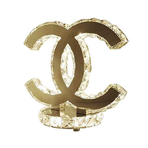 K9 Kristall tischlampe mode silber edelstahl dekor, dekorative nachttisch schreibtischlampe für schlafzimmer, wohnzimmer, esszimmer, 2500 k-3500k (24cm x 26 cm) (warmes Licht 2 seitig)