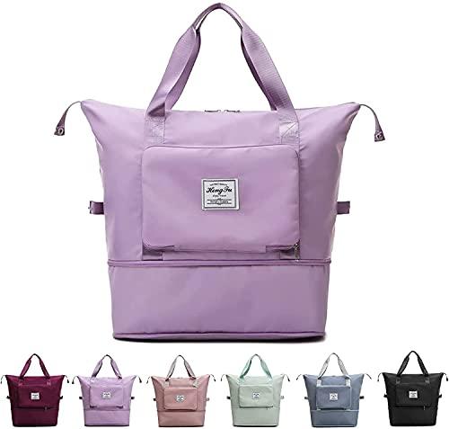 Borsa da viaggio pieghevole di grande capacità, borsa da viaggio pieghevole portatile leggera in tessuto Oxford impermeabile, borsa sportiva per la separazione di asciutto e bagnato (Light Purple)