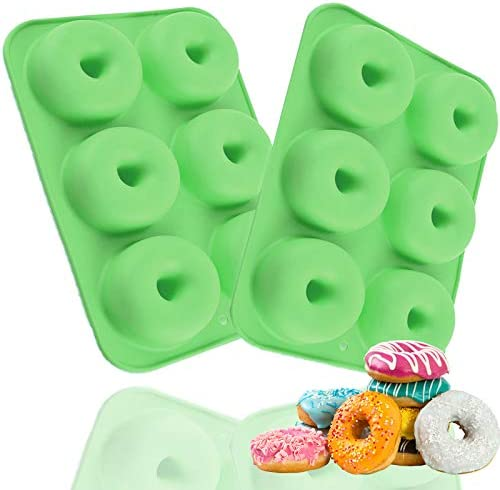 2PCS 6 Cavity Donut Pan Silicone Non Stick Donut Mold for 6 Full Size Donuts Easy Clean BPA product image