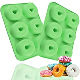 2PCS 6-Cavity Donut Pan, Silicone Non-Stick Donut Mold for 6...