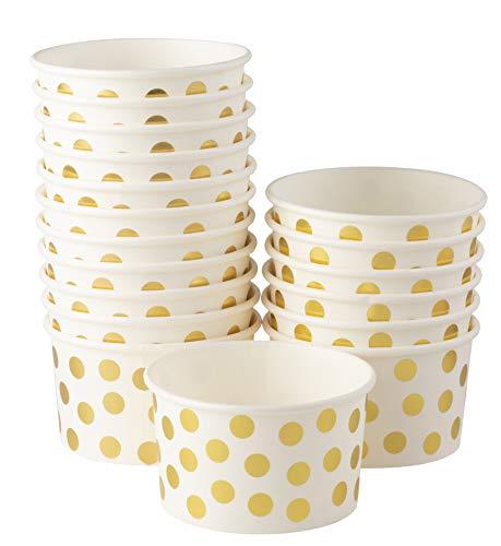 Eisbecher/Eisbecher / Eisschalen/Joghurtschalen / Einweg-Papier, 227 ml 100-Pack Gold Foil Polka Dot