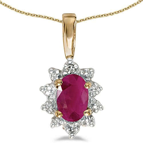 10k Yellow Gold Oval Ruby And Diamond Pendant with 18' Chain