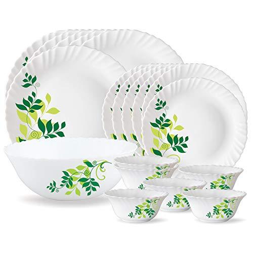 Larah by Borosil Fern Opalware Dinner Set, 19-Pieces, White