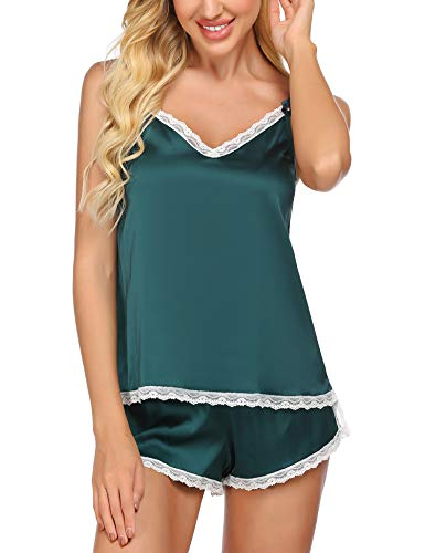 Ekouaer Satin Cami Pajama Short Set Lace Pj Set Sexy Lingerie Pajamas for Women Green