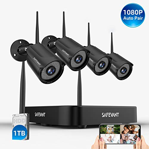 [Expandable 8CH] 1080P Security Camera System Wireless with 1TB Hard Drive,SAFEVANT 8 Channel NVR Systems 4PCS 960P 1.3MP Indoor Outdoor Home Surveillance Cameras with Night Vision Motion Detection