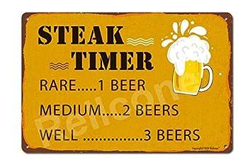UHVD Steak Timer 8x12 Retro Funny Beer Signs Man Cave Bar BBQ Garage Cafe Restaurant Wall Art Decor Metal Tin Sign