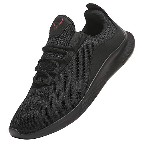 NIUBUFAN Mens Lightweight Slip On Sport Running Walking Tennis Shoes, Comfortable Casual Athletic Gym Workout Fitness Shoe Sneakers for Men, Breathable Training Indoor Outdoor Footwear All Black Size 10.5
