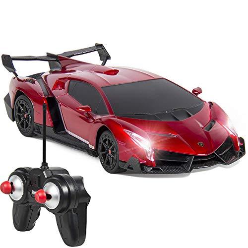 QUN FENG Electric RC Car-Lamborghini Veneno Radio Remote Control Vehicle Sport Racing Hobby Grade Licensed Model Car 1:24 Scale for Kids Adults (Silver)